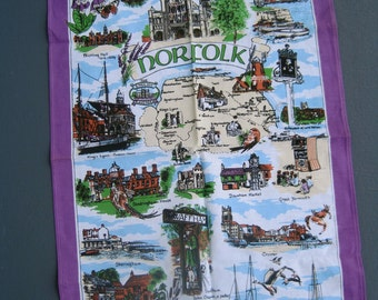Norfolk English Tea Towel SCENIC Souvenir Memento SALLY JAYNE Colorful Screen Printed Cotton Lavender Famous Sights Towns England Never Used