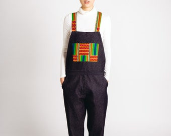 African Print Denim Dungarees Red Green