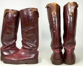 1930s Cavalry Boots Oxblood Leather Tall Riding Boots Cats Paw Soles Size 9.5
