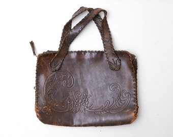 Victorian Tooled Leather Purse 1910s Arts and Crafts Large Leather Purse