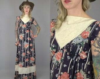 70s Honolulu Hawaii Prairie Dress Cotton Floral Western Bohemian Maxi Dress