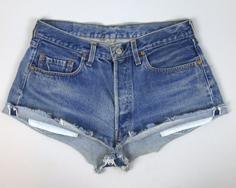 Vintage Levis Redline 501 Hot Pants Cut off Jean Shorts W 32