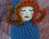 Poppy Darling- handmade folk art fiber doll.