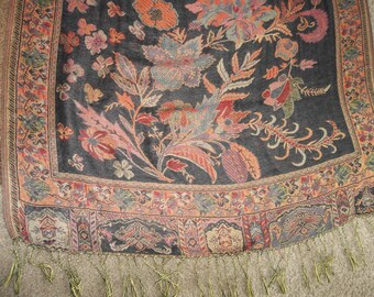 "Traditional  Dutch Kashmer Paisley Shawl...Excellent Condition...28"" by 67""...Plus Fringe"