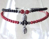 Red & Black Beaded Anklet w/Silver Plated Ladybug Charm, Handmade Original Fashion Jewelry, Cute Summer Fun Beach Party Poolside Ladies Gift