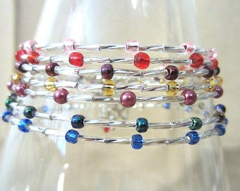 Silver & Colored Accent Bead Anklet, Petite Beaded Ankle Bracelet Glass Seed Bead Plus Size Anklet, Tiny Pearl Anklets Handmade Jewelry