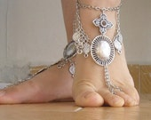 BIG SALE %50 Barefoot chain metal/Barefoot sandal ethnic/coin anklet dangle/afghani turcoman tribal folk anklet/two in one design