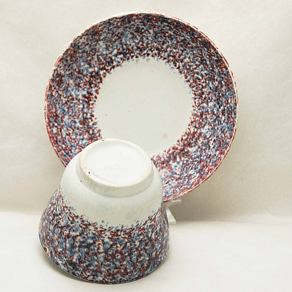 """Antique 19th C. SPATTERWARE RED & BLUE on White Sponged Handleless Cup n Saucer Cup Measures 2 6/8"""" h x 3 6/8"""" di Saucer Measures 5 6/8"""" di"""