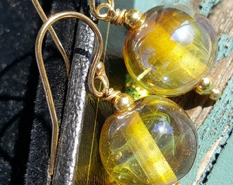 Glass & Vermeil Bud  Earrings.  Lampwork Earrings  SRAJD FHFteam