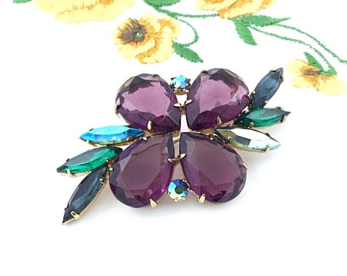 Vintage Plum Purple Rhinestone Brooch. High End Designer Jewelry. Sparkly brooch. Aqua blue aurora borealis rhinestones jewelry.