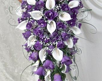 PURPLE CASCADE silk flowers babies breath roses calla lilies ivy bouquets bow ribbon satin stephanotis, pearls, blossoms, rosebuds, diamond