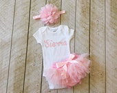 Baby Girl Bringing Home Baby Set in Light Pink - Personalized Bodysuit - Headband - Tutu Bloomer - Newborn Photo - Baby Shower - Baby Girl