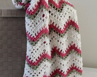 Sweet Cream and Pink Throw - Handmade Crochet Ripple Blanket - Toddler Afghan