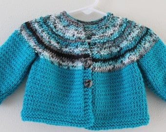 Knit Sweater -  Baby 3 to 6 months - Children's Cardigan Sweater - Teal with Coordinating Multi