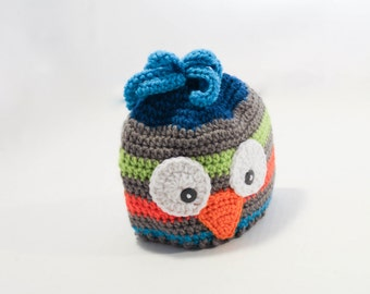 Crochet Hat - Children's Hat - Owl Hat - Grey Green Blue and Orange - 6 to 12 months - Christmas in July SALE - 20 % off until July 31st