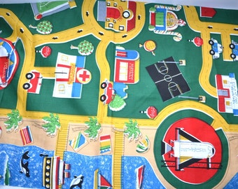 """Vintage busy town cotton fabric by Playmat fabri quilt vintage new fabric 1 yard 34"""" total"""