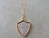 Make it happen personalized shield necklace - gold and silver jewelry mantra pendant