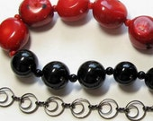 Red Bamboo Coral and Black Onyx Bib Necklace, Red Coral, Black Onyx, Gun Metal Chain
