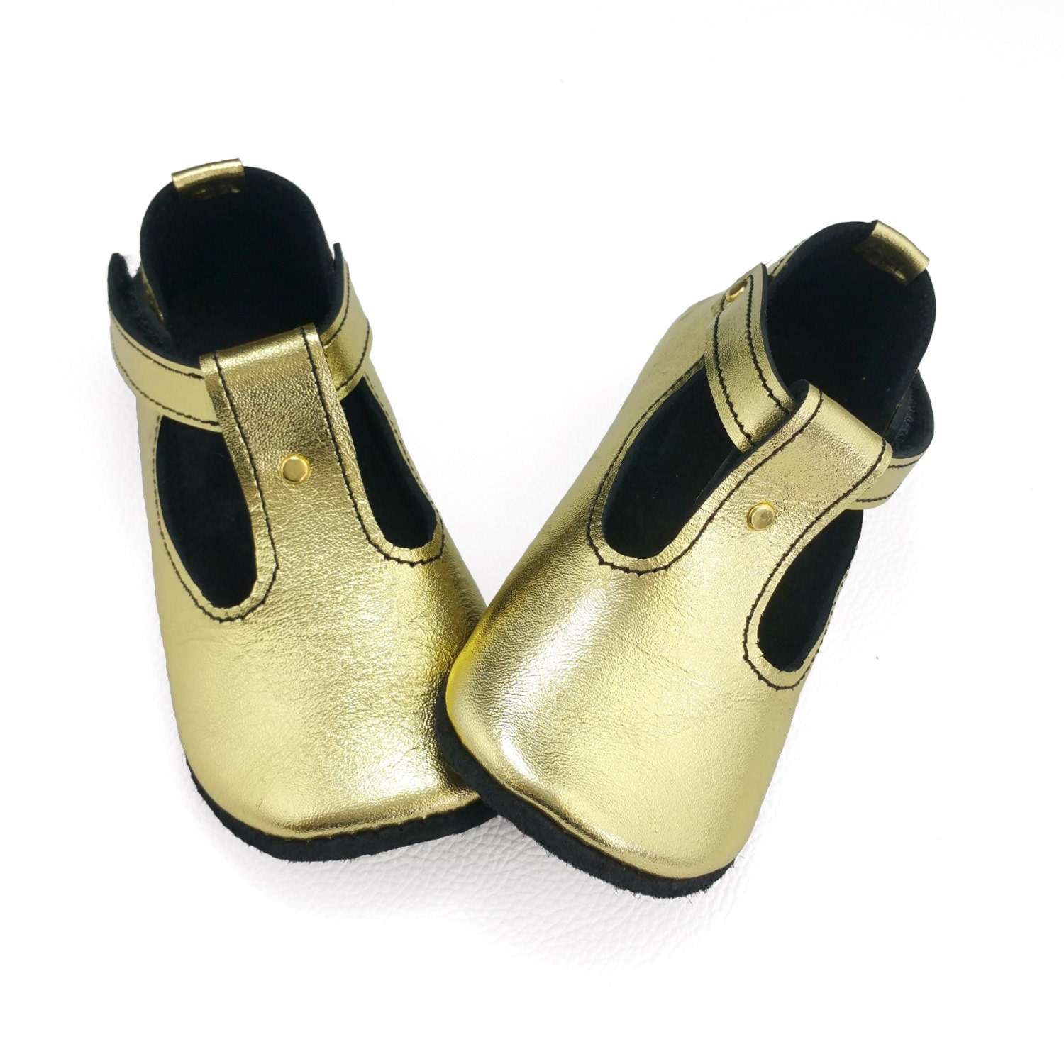 Handmade gold leather baby shoes Gold leather T bar shoes