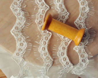 Bridal Veil lace, Scallop Lace Swatch, Eyelash lace, Mantilla Lace,French Alencon Lace
