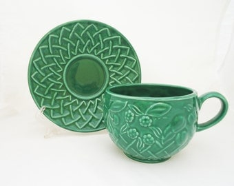 Wade Tea Cup and Saucer, Wade Tea Cup and Saucer in Green, Collectable Wade