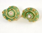 Kenneth Jay Lane Snail Clip On Earring - Jade Green with 22CT Gold Overlay - Round Green Spiral Vintage Earrings, Signed Statement Jewelry