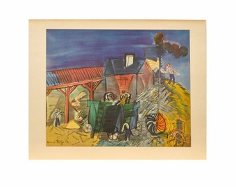 "Vintage Color Print of ""Threshing"" By Raoul Dufy - 1954"
