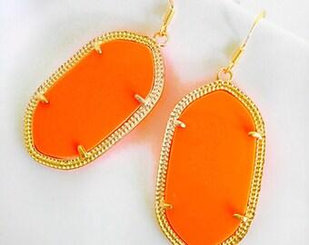 Neon Orange Statement Earrings Summer Bright Neon and Gold Fall Harvest Halloween Earrings