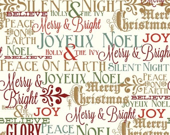 Words of the Season Postcards for Santa from Riley Blake Designs- one yard increments, quilting fabric
