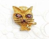 Cat Brooch, Gold Tone, Rhinestones, Shabby Chic Jewelry, HALF OFF Sale, Item No. B653