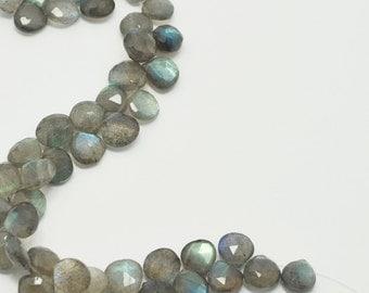 Labradorite Heart Briolettes, Labradorite Briolette Faceted Flat Drops, 8x8 mm, 8 Beads, Destash Gemstones #103