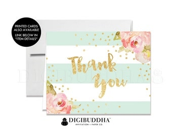 THANK YOU CARDS Folded A2 Thank You Cards Note Wedding Thank You Bridal Shower Baby Shower Thank You Instant Download DiY Printable - Krissy
