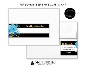 ENVELOPE WRAP LABELS Envelope Wrap Address Label Stickers Wrap Around Envelope Labels Return Address Labels Ready Made Printed Labels - Mady