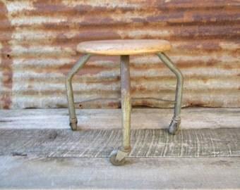 Vintage Shop Stool on Caster Wheels Industrial Rolling Seat Metal Bench Garage Mechanic vtg Old Fashion Work Bench Industrial Furniture