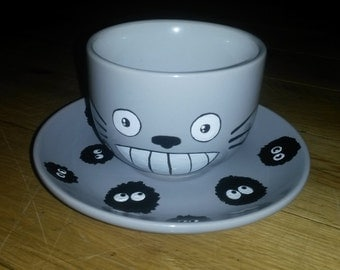 My Neighbour Totoro Inspired Hand Painted Tea Cup and Saucer