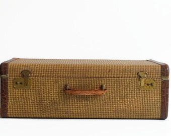vintage tweed suitcase with key 1940s luggage houndstooth