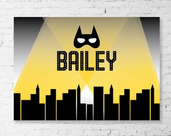 BATMAN inspired Party Backdrop - Printable Banner Artwork - Perfect for a Batman Superhero Birthday Party. Personalized. Print your own.