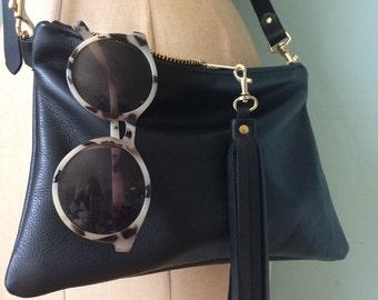 Black leather cross body bag, cross body purse, leather clutch bag