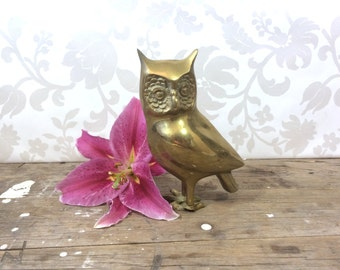 Brass Owl figure figurine, metal bird, horned owl, tarnished, broken foot