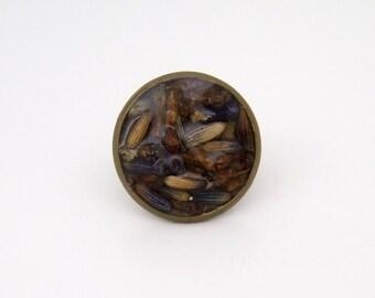 Dried Lavender Flower Antique Bronze Tie Pin Tack
