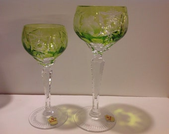 Delicate Green Nachtmann Cut Crystal Wine and Sherry Glass PAIR with Sticker Label, Cut to Clear in Excellent Condition