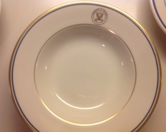 "Department of the Navy, USN WWII 9"" Soup Bowl, Rare Naval Dinnerware, Gold and Cobalt, Sterling China Very Good Condition"