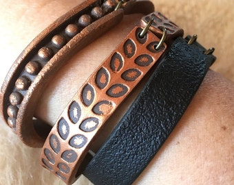 Copper and Black Boho Stackable Bracelets, Cool gift for Mom, Urban, Industrial, City Fashion Trends, Fall, 2016, 2017, Mixed Metal