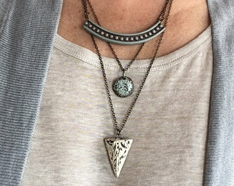 Layered Concrete Necklace, Multistrand Necklace, shades of concrete, cement and cream, clay pendant, Talisman, Tribal, Pendulum Jewelry