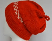 Wool Ski Cap, Knit Slouchy Hat, Slouchy Beanie, Red and White, Christmas Hat, Slouchy Hat, Gender Neutral Hat, Gender Neutral, Beanie