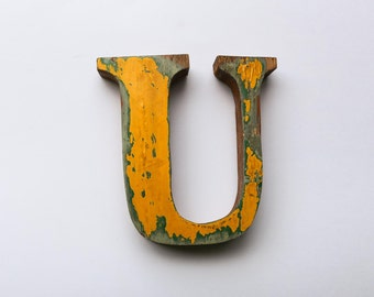 """Beach Decor Wooden LETTER """"U"""" Vintage Style Nautical by SEASTYLE"""