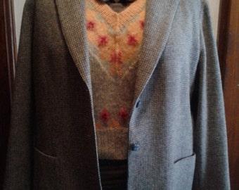 Women's Vintage Blue-ish Grey Tweed Blazer- size L