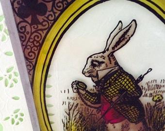 Alice in Wonderland - John Tenniel - The White Rabbit - Sun Catcher - glass wall decor - Lewis Carroll - Vintage - 60s - collectible glass
