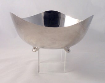 Vintage Silverplate Footed Bowl, Contemporary Wave Shape