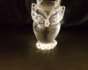 Vintage glass owl signed